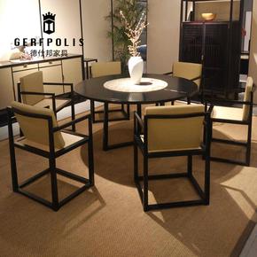 万物新中式鸡翅木餐椅样板间餐桌椅组合实木别墅酒店客厅家具定制