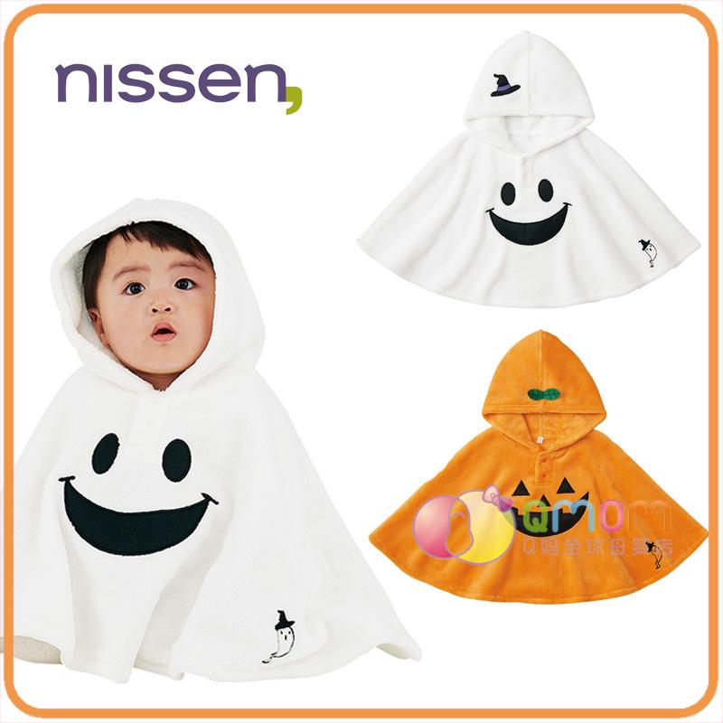 日本nissen童装万圣节幽灵南瓜婴儿披风斗篷秋冬外出连帽宝宝披肩