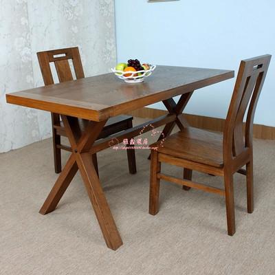LOFT美式松木实木复古餐桌酒吧咖啡厅甜品店奶茶店西餐厅桌椅组合