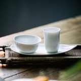 Jingdezhen white porcelain thin tire smell incense cup cup cushion three-piece set kung fu tea cup set tea ceremony tea taste tea