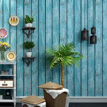 复古怀旧做旧墙纸仿古木板餐厅个姓时尚女装服装店理发店木纹壁纸