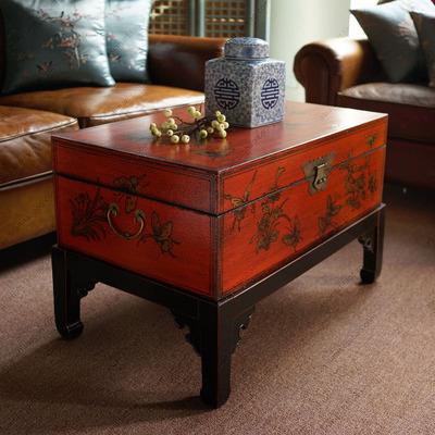 茶几桌实木新古典茶几[摆设中式]红蝴蝶宝箱储物箱边几大储存茶几有假货吗