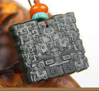Authentic Xinjiang Hetian jade black sheep fat jade pendant animal face jade cross chip black jasper brand to send certificate