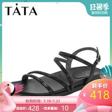 Tata/他她2019夏拼接水钻条带罗马鞋平底女凉鞋DST18BL9图片