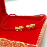 The golden PI xiu footchain pure gold pure gold born in the year of birth red rope woven transfer bead lovers 3D hard gold