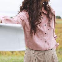 漞渡原创文艺复古冬季百搭柔软大口袋麂皮绒翻领短款衬衫 长袖 女