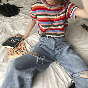 花田橱窗 泫雅风上衣彩色彩虹条纹冰丝针织衫女短袖打底显瘦夏季