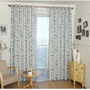 低价窗帘布供应小鸟遮光布客厅卧室阳台全遮光窗帘布黑丝遮光定做