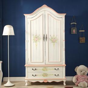美式家具彩绘2门衣柜 复古大衣橱 象牙白二门大衣柜 房间雕花衣柜