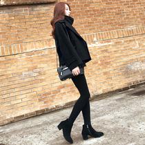 2018秋冬新款韩版短款毛呢外套大码宽松chic黑色西装领呢子大衣女