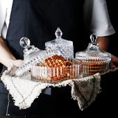 厨房杂粮干果茶叶储物罐 欧式玻璃糖果罐带盖食品零食水晶收纳罐