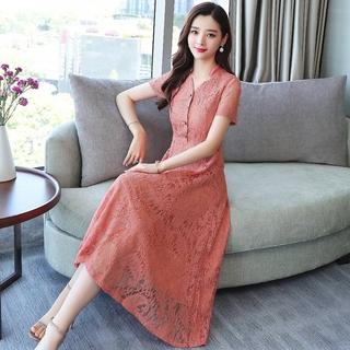 夏装修身妈妈装纯色女装打底新款大码连衣裙短袖气质蕾丝长裙