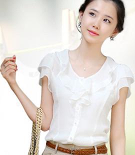 2017夏季新款荷叶边蕾丝衫韩版修身雪纺衫娃娃衫大码白色短袖衬衫