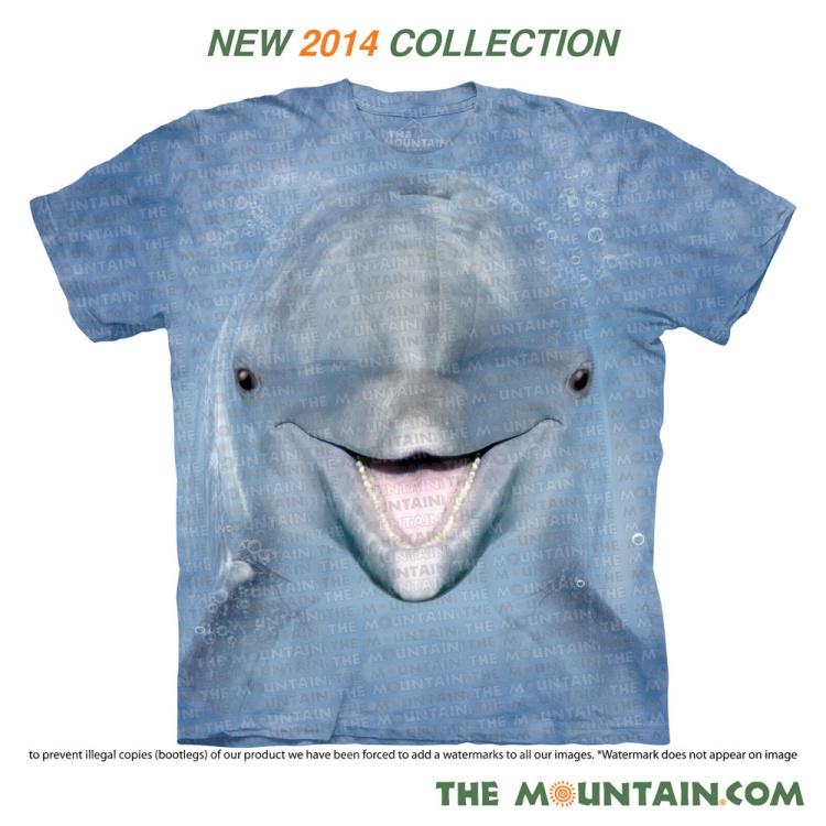 2019新款美国体恤TheMountain正品大脸海豚个性全棉创意儿童T恤