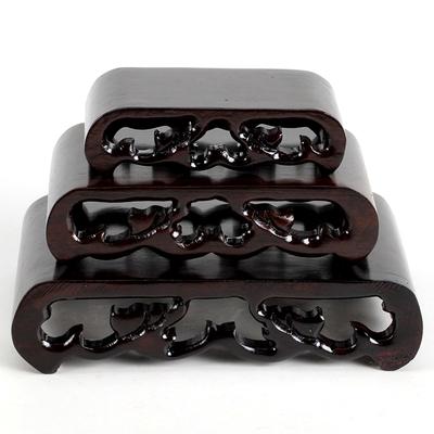 红木奇石底座 实木质摆件底座 黑紫檀木紫砂壶圆头小书卷方台
