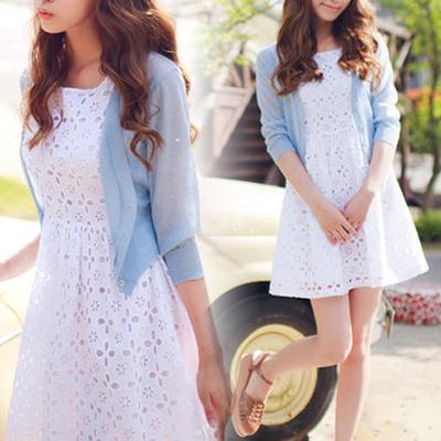 【特惠抢购】女装糖果七分袖针织衫罩衫短款开衫空调衫防晒衫薄款