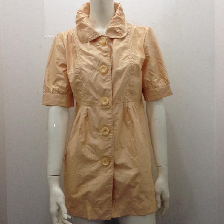 圣玛田女中长款风衣外套净色韩版纽扣中袖图层翻领特惠清货价9元