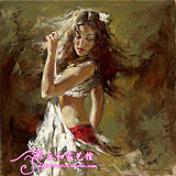 时尚客厅墙别墅装饰RW03世界名家安德鲁拉丁舞美女印象油画临摹
