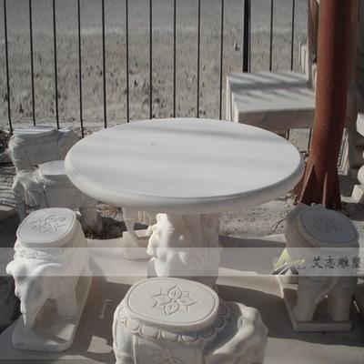 汉白玉家用桌子曲阳石雕 石桌石凳石椅 欧式雕塑凳子象墩TB020