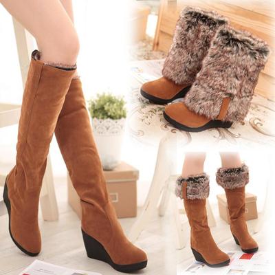 雪地靴女冬季坡跟高筒长靴高跟女靴子多穿中筒保暖冬靴女棉鞋棉靴