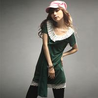 甜蜜A 杰杰丝女装 日系雪纺蝴蝶结蕾丝领长款裙摆T恤  18春装推荐