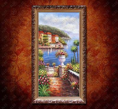 油画地中海装饰画挂画山水风景客厅餐厅美式有框墙画卧室床头风格今日特惠