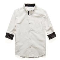 清仓 男装日本秋季新款 休闲精致时尚全棉 男士七分袖白衬衣