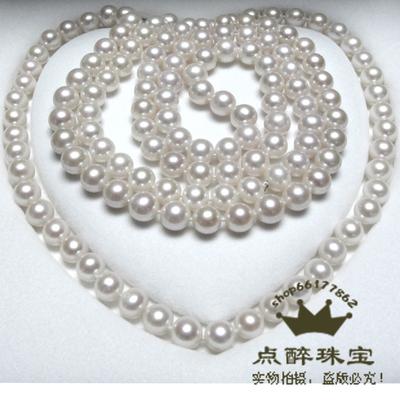 点醉 正品天然珍珠项链 珍珠毛衣链9-10mm正圆 强光微瑕长款多层