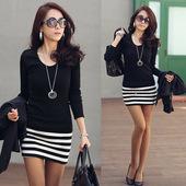 2013秋装新款 韩版女装长袖大码显瘦性感包臀条纹薄款打底连衣裙
