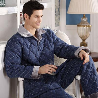 中老年睡衣男里外纯棉冬季全棉质三层加厚夹棉袄保暖加大码家居服