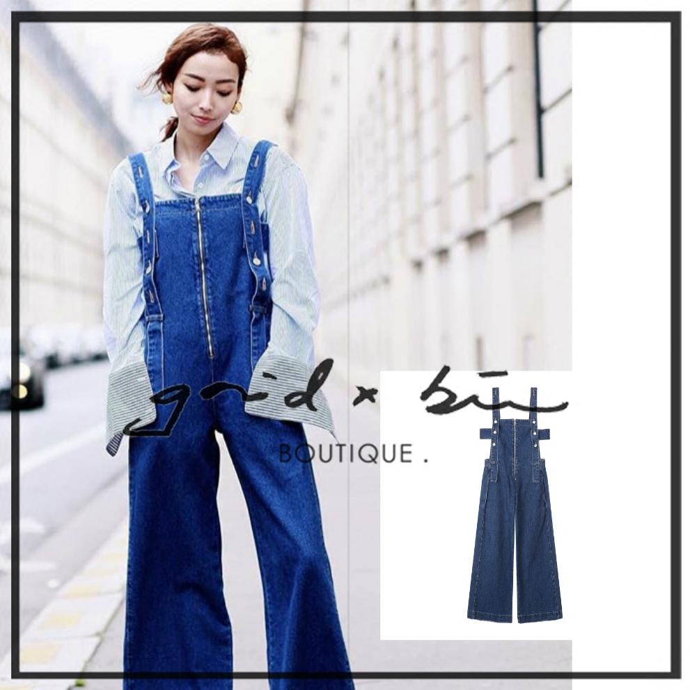 折扣  SJYP 17春夏 拉鏈設計 靛藍色牛仔背帶褲