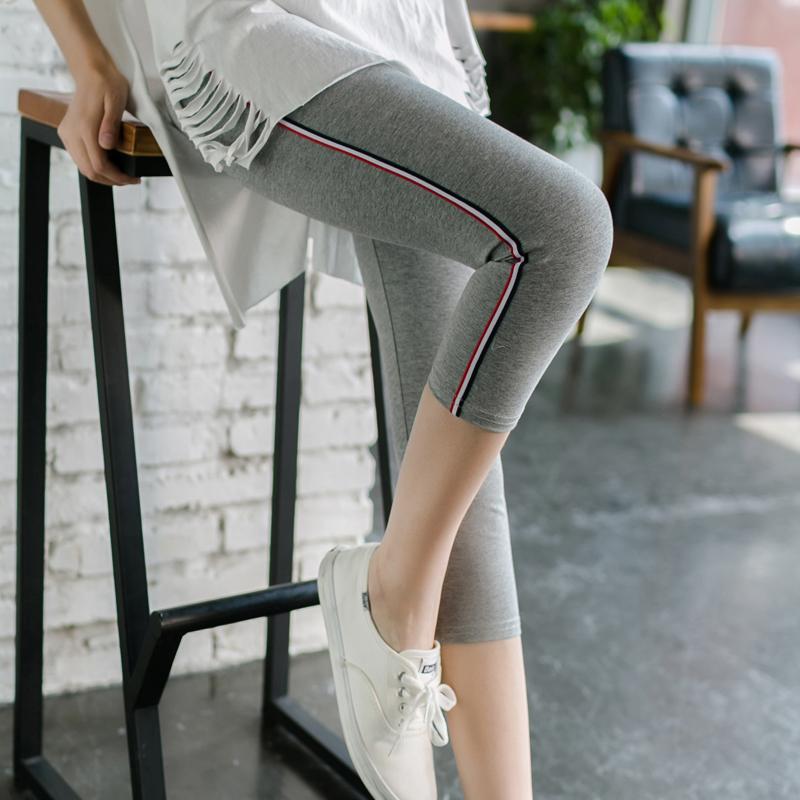 側邊條紋七分打底褲女外穿夏薄款棉小腳短褲高腰顯瘦大碼7分褲女