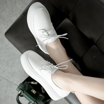 真皮上线底韩国厚底小白鞋休闲鞋女英伦风小皮鞋系带单鞋女平底鞋