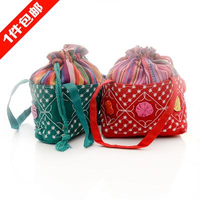 广西民族特色工艺品 个性伸缩式条纹女包 收口水桶包手提袋 包邮
