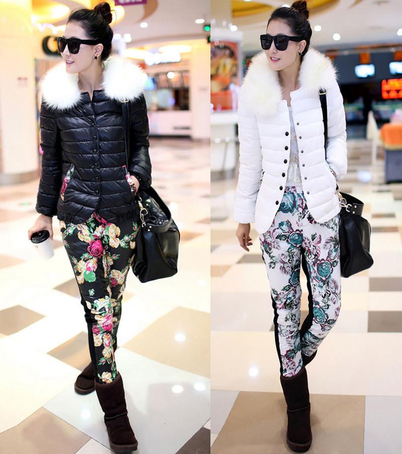 2014冬季新款韩版女装毛领短款羽绒棉服印花棉裤两件套女休闲套装