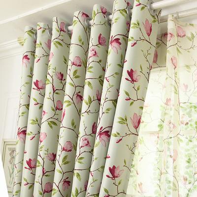 田园遮光布成品窗帘布料窗纱卧室客厅阳台蓝色定制窗帘包邮