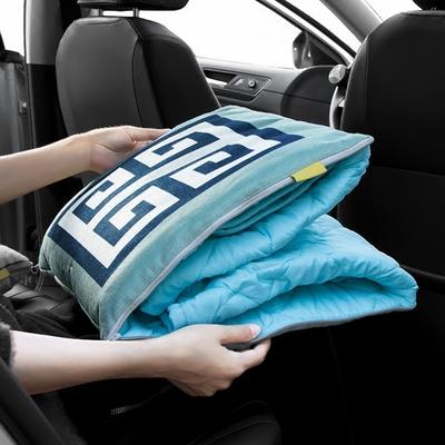 北欧风粗麻车载抱枕被子两用汽车用夏季空调被午休被靠枕车内用品