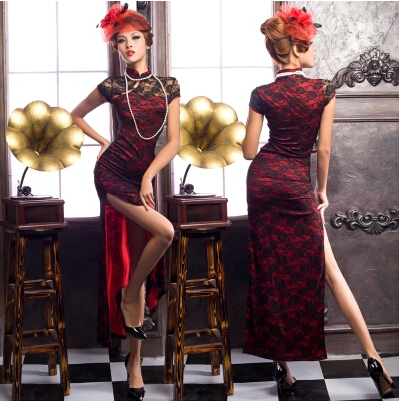 red lace Long ceremonial costume oblique costume stage costume large size catwalk show welcome