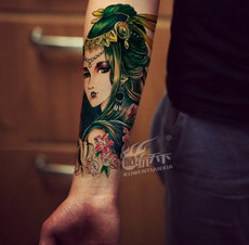 6df8ce3e91162 Cool play world tattoo stickers men and women waterproof European and  American flower arm sexy personality