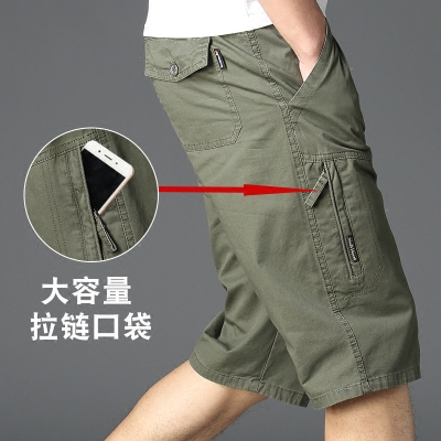 中年七分裤男宽松大码爸爸装外穿夏季纯棉休闲中裤子老人工装短裤