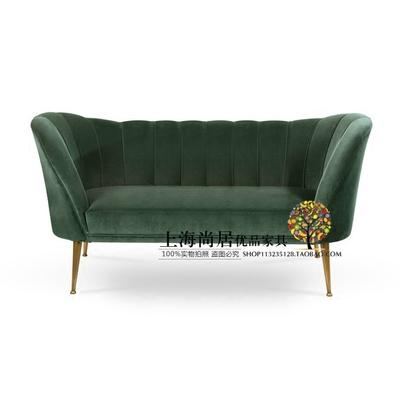 现货轻奢风布艺个性单双三人位北欧新古典现代设计师军绿色沙发