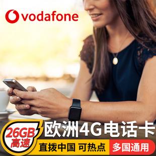 欧洲多国通用电话卡手机4g上网德国北欧旅行可选2g无限流量15天等