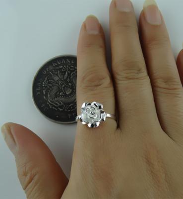 包邮99纯银戒指牡丹花足银正品古典吉祥花立体多层七夕情人节