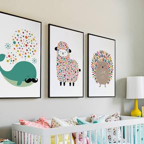 儿童房装饰画三联挂画现代简约温馨男孩女孩卧室床头壁画卡通动物