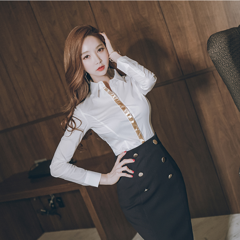 2018 autumn new women's long-sleeved OL professional shirt suit skirt temperament flip