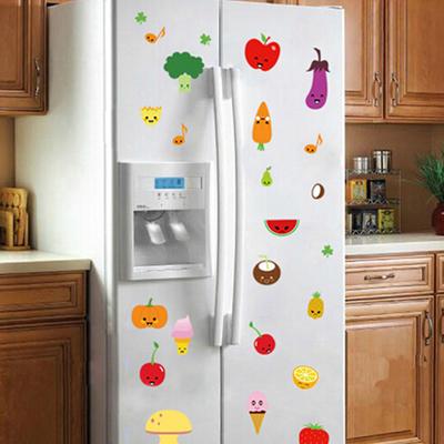 卡通水果蔬菜装饰墙贴纸 可移除幼儿园教室布置 厨房冰箱可爱贴画