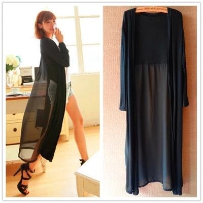 韩版新款莫代尔外搭开衫雪纺衫中长款薄款夏季长袖防晒衫上衣女夏