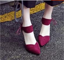 春秋yabovip4.cpm系带蝴蝶结黑色绒面酒红色高跟鞋绑带尖头细跟单鞋婚鞋
