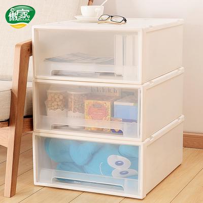 抽屉式浴室收纳柜塑料箱叠加厨房客厅卧室储物柜夹缝柜子特价包邮