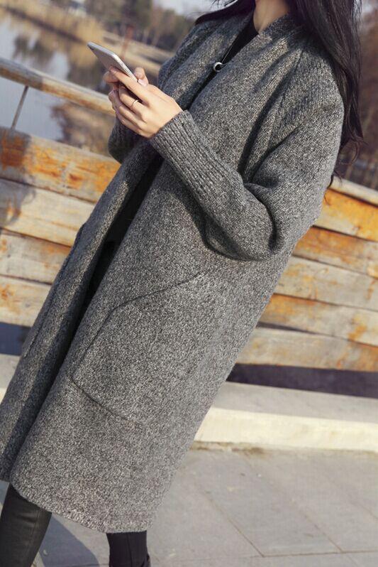 针织开衫女春装春季新款韩版chic网红毛衣外套中长款宽松潮慵懒风